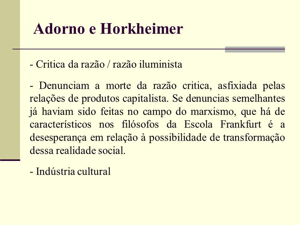 Adorno e Horkheimer - Critica da razão / razão iluminista