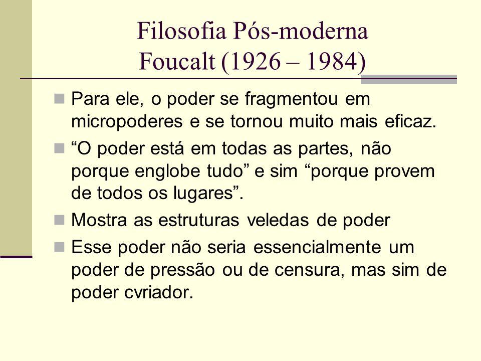 Filosofia Pós-moderna Foucalt (1926 – 1984)