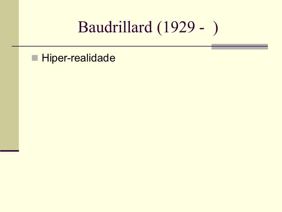 Baudrillard (1929 - ) Hiper-realidade