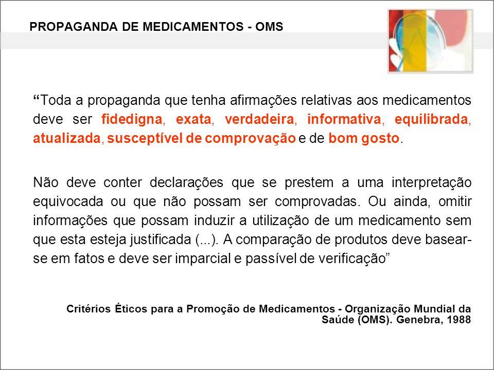 PROPAGANDA DE MEDICAMENTOS - OMS