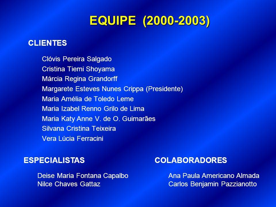 EQUIPE (2000-2003) CLIENTES ESPECIALISTAS COLABORADORES