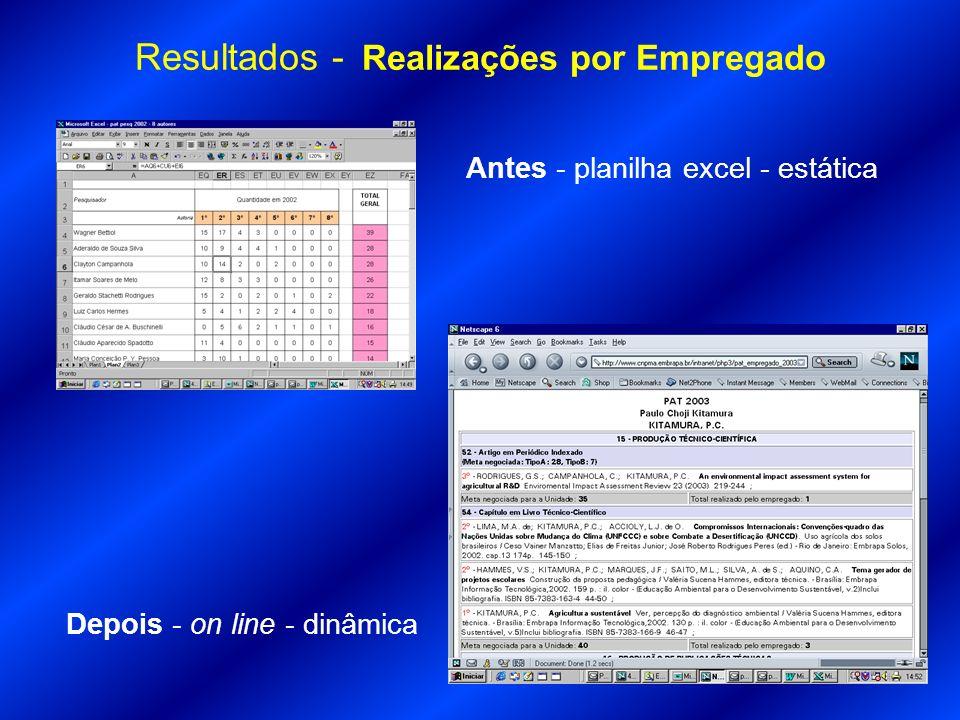 Resultados - Realizações por Empregado