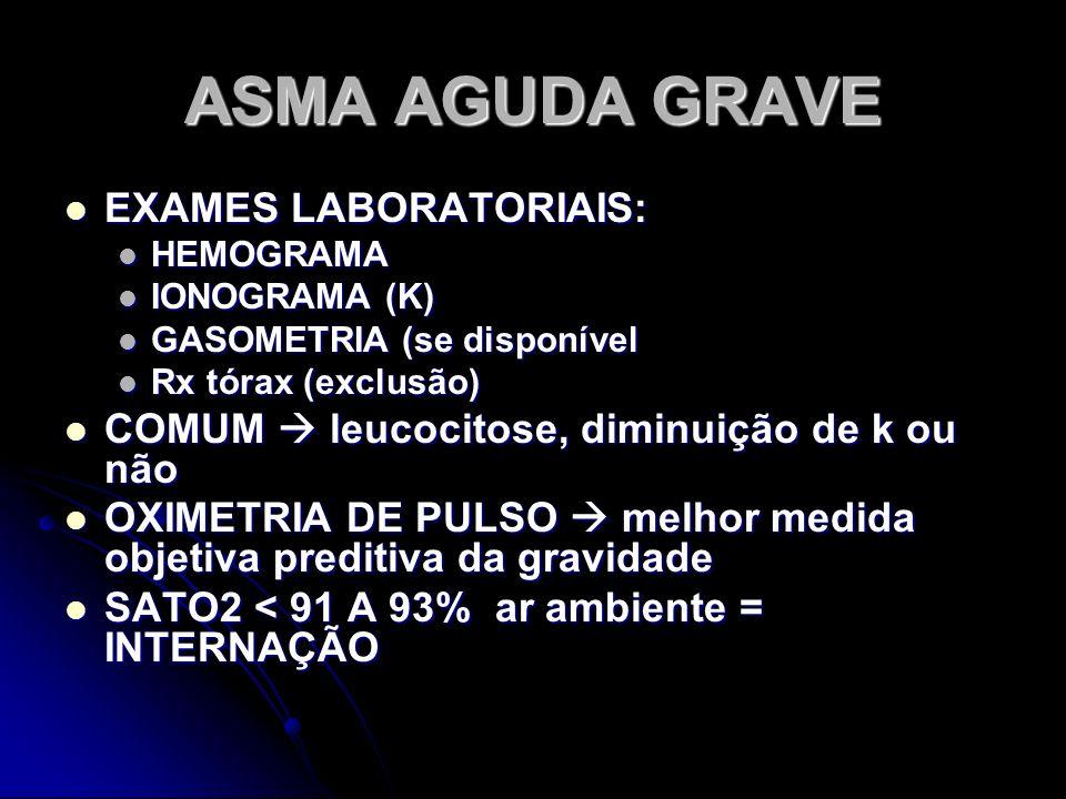 ASMA AGUDA GRAVE EXAMES LABORATORIAIS: