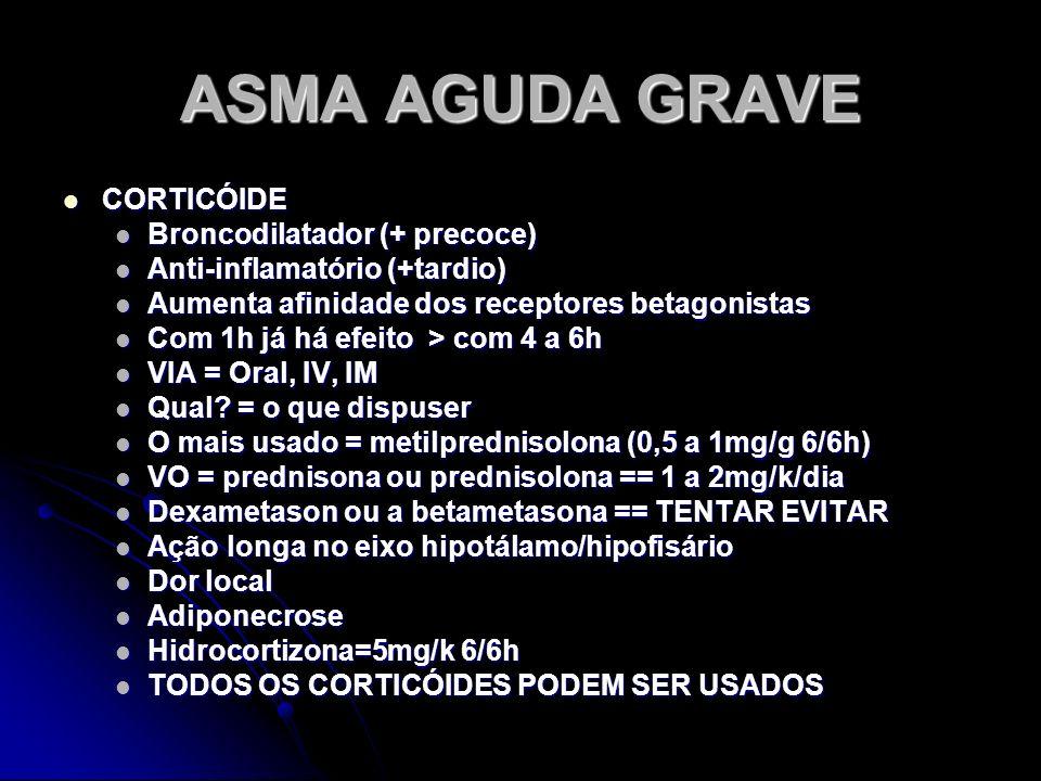 ASMA AGUDA GRAVE CORTICÓIDE Broncodilatador (+ precoce)