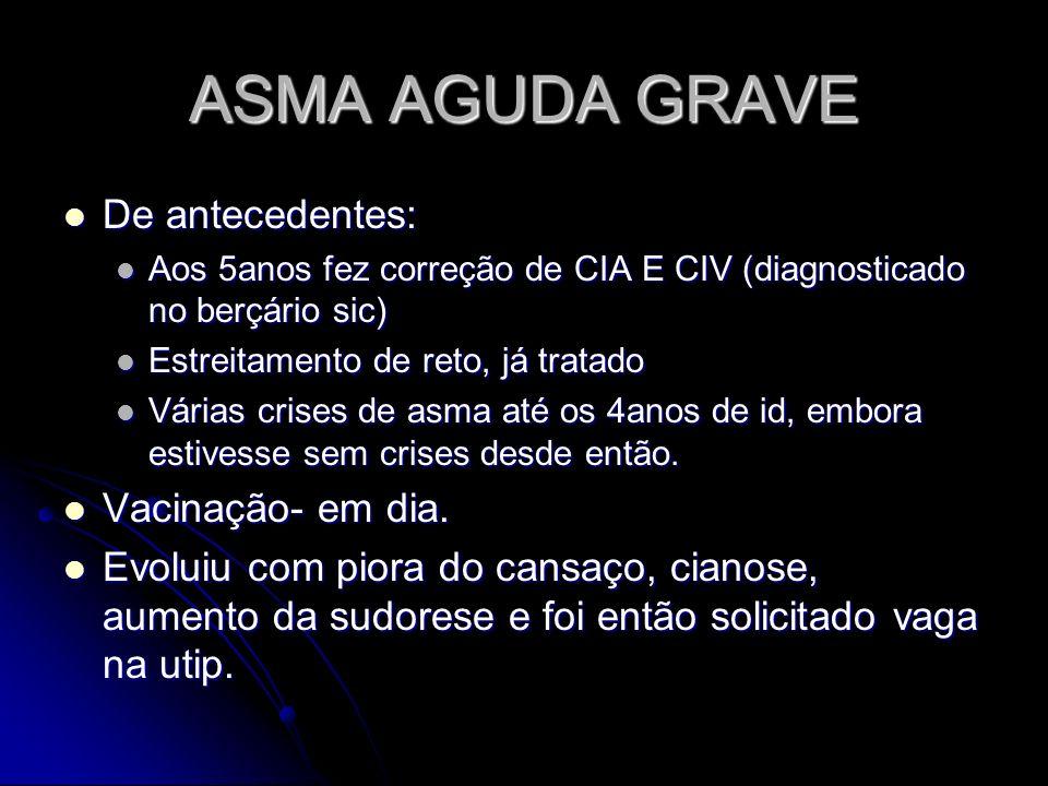ASMA AGUDA GRAVE De antecedentes: Vacinação- em dia.