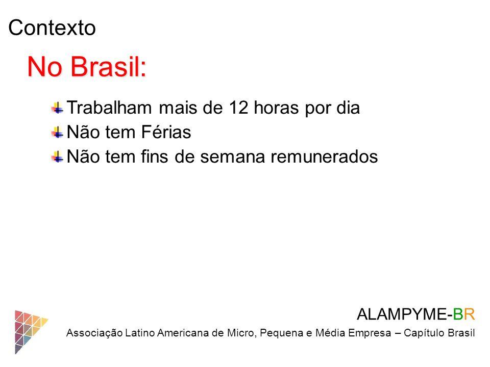 No Brasil: Contexto Trabalham mais de 12 horas por dia Não tem Férias