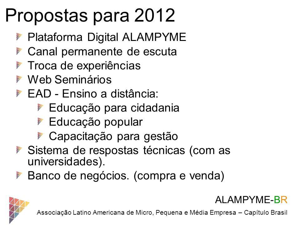 Propostas para 2012 Plataforma Digital ALAMPYME