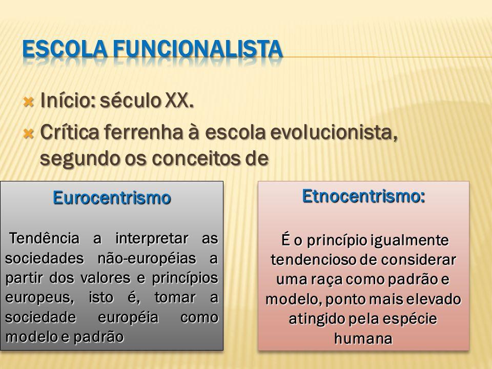 Escola funcionalista Início: século XX.