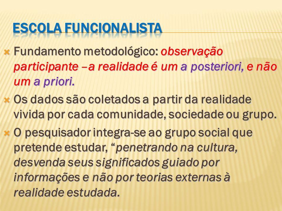 Escola funcionalistaFundamento metodológico: observação participante –a realidade é um a posteriori, e não um a priori.