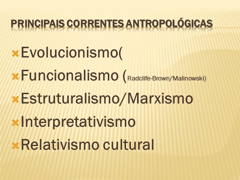 Principais correntes antropológicas