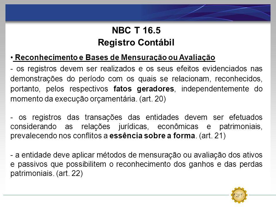 NBC T 16.5 Registro Contábil