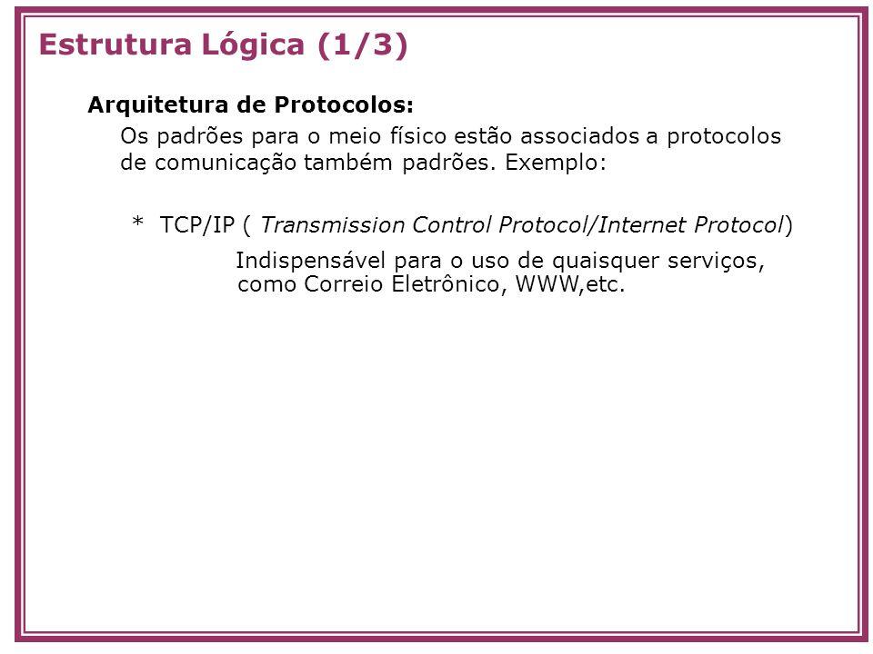 Estrutura Lógica (1/3) Arquitetura de Protocolos: