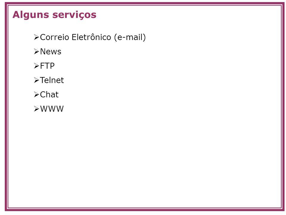 Alguns serviços Correio Eletrônico (e-mail) News FTP Telnet Chat WWW