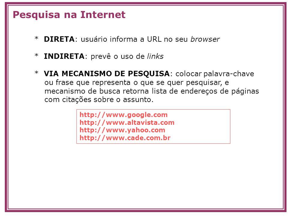 Pesquisa na Internet * DIRETA: usuário informa a URL no seu browser