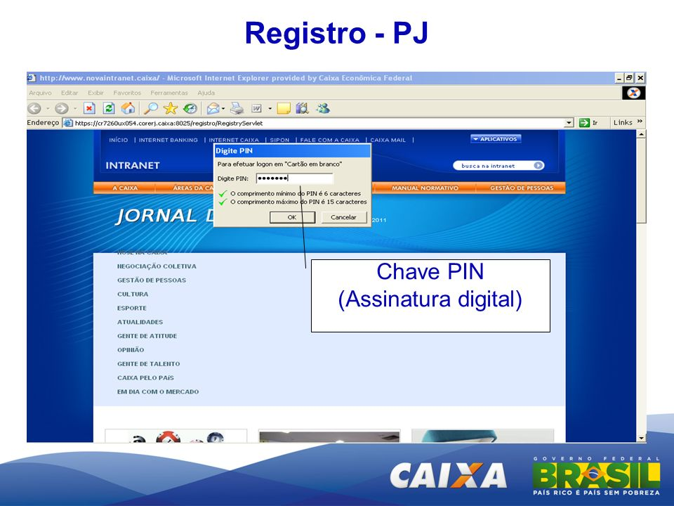 Registro - PJ Chave PIN (Assinatura digital)