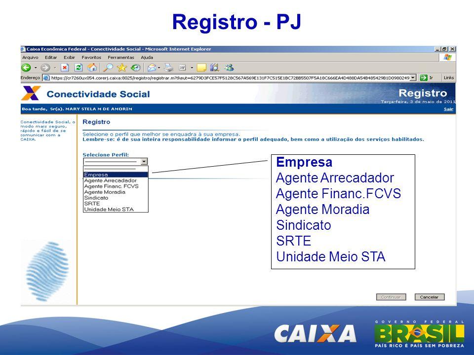 Registro - PJ Empresa Agente Arrecadador Agente Financ.FCVS