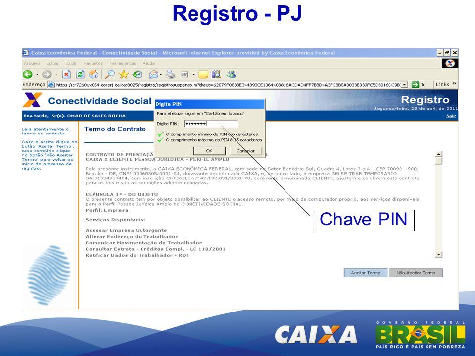 Registro - PJ Chave PIN