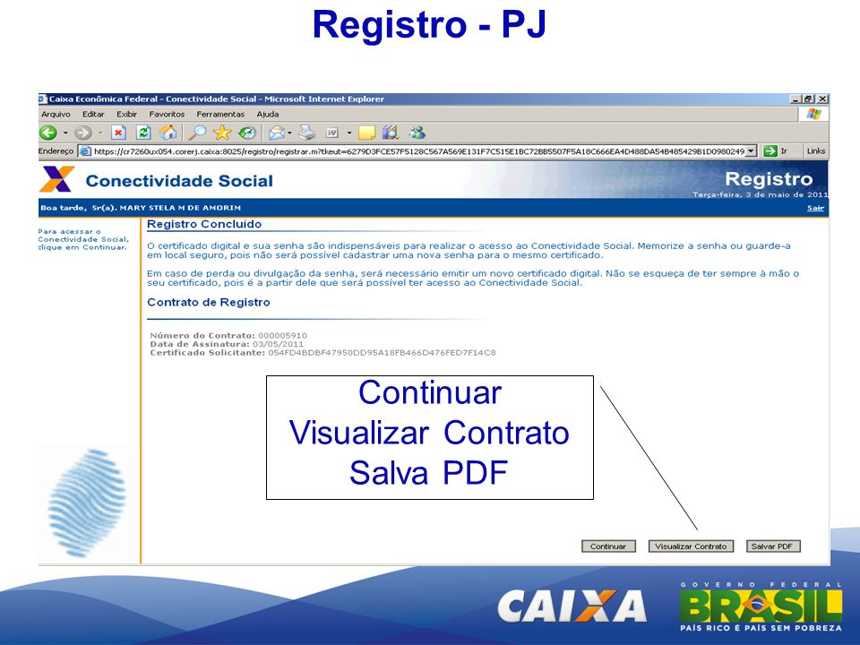 Registro - PJ Continuar Visualizar Contrato Salva PDF