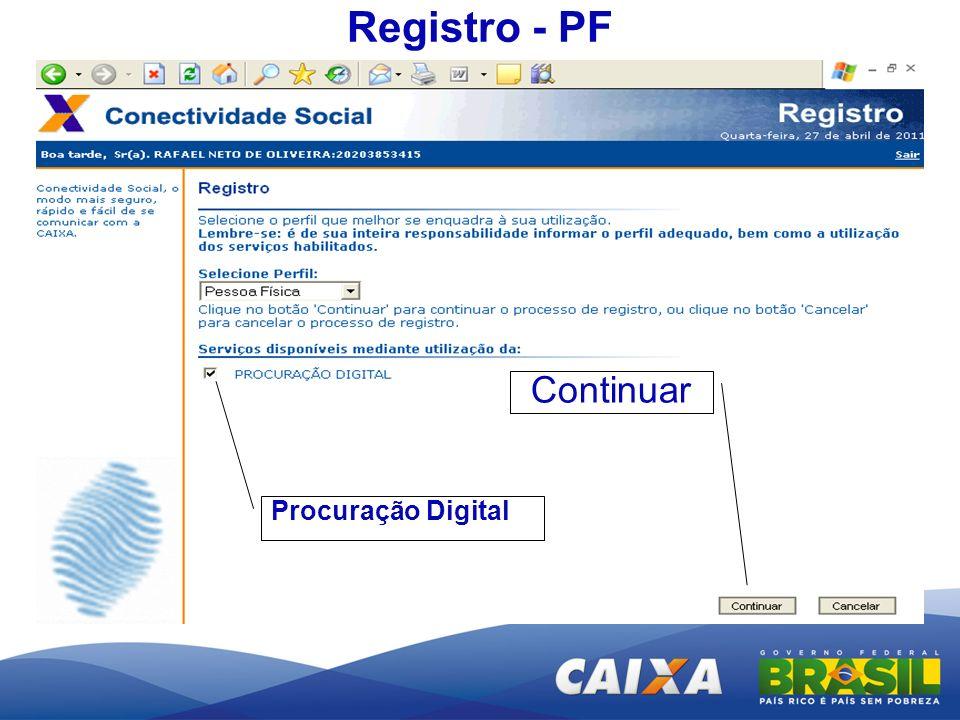 Registro - PF Continuar Procuração Digital