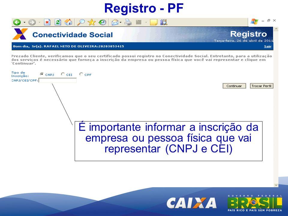 Registro - PFÉ importante informar a inscrição da empresa ou pessoa física que vai representar (CNPJ e CEI)