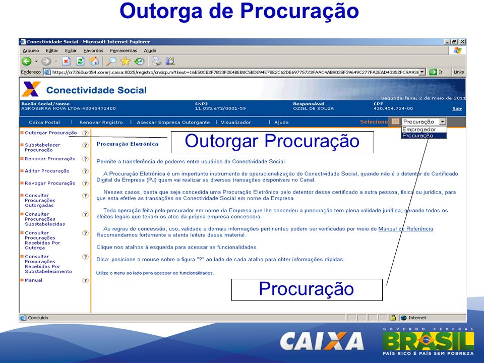 Outorga de Procuração Outorgar Procuração Procuração