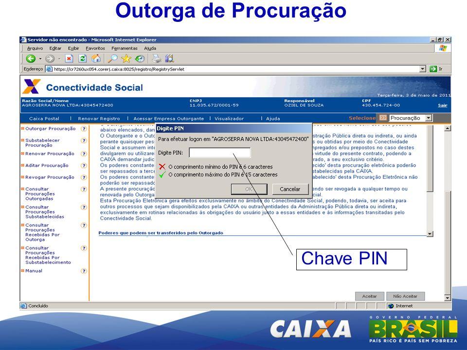 Outorga de Procuração Chave PIN
