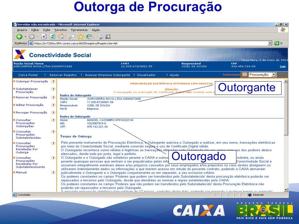Outorga de Procuração Outorgante Outorgado