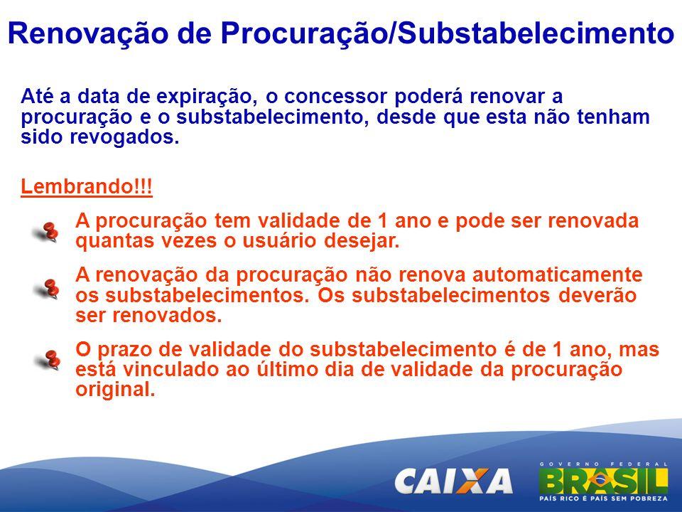 Renovação de Procuração/Substabelecimento