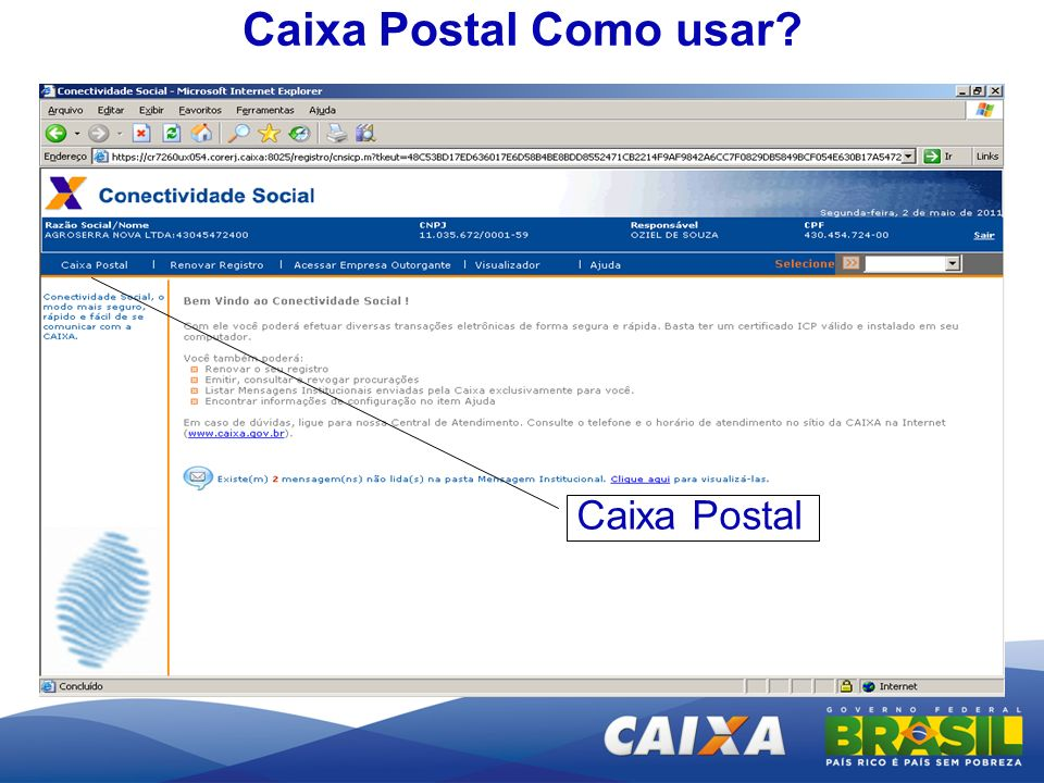 Caixa Postal Como usar Caixa Postal