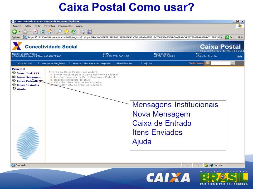 Caixa Postal Como usar Mensagens Institucionais Nova Mensagem