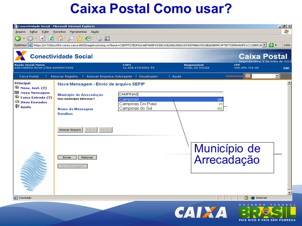 Caixa Postal Como usar Município de Arrecadação