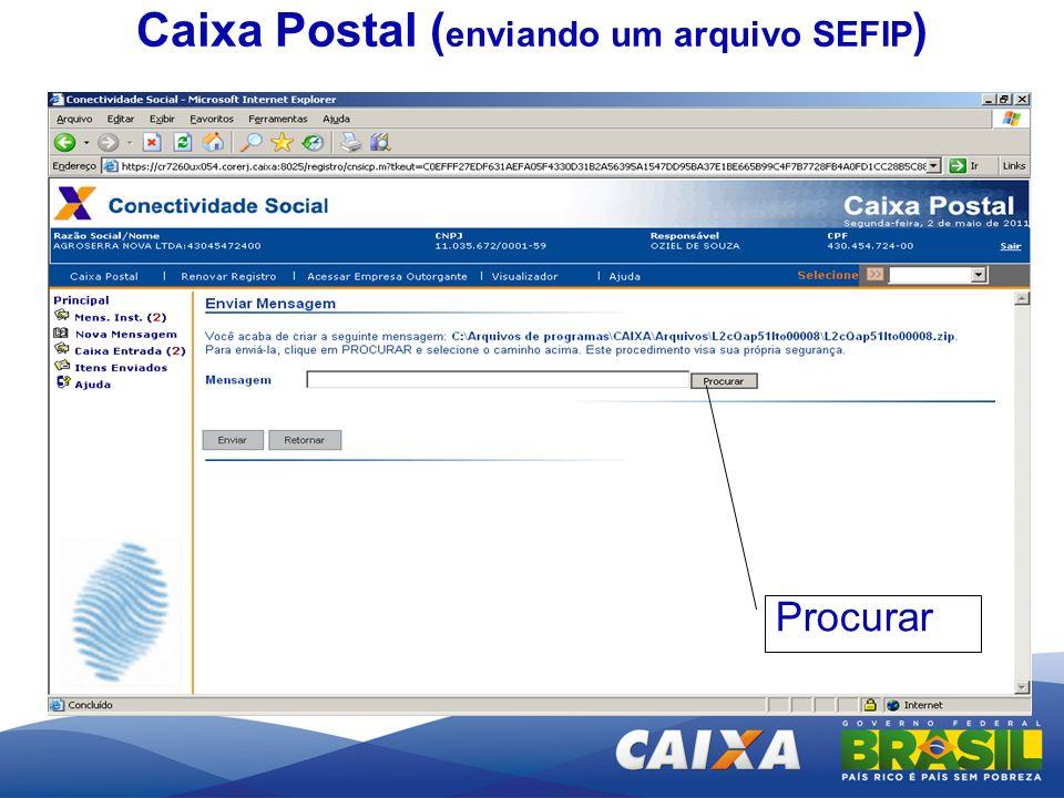 Caixa Postal (enviando um arquivo SEFIP)