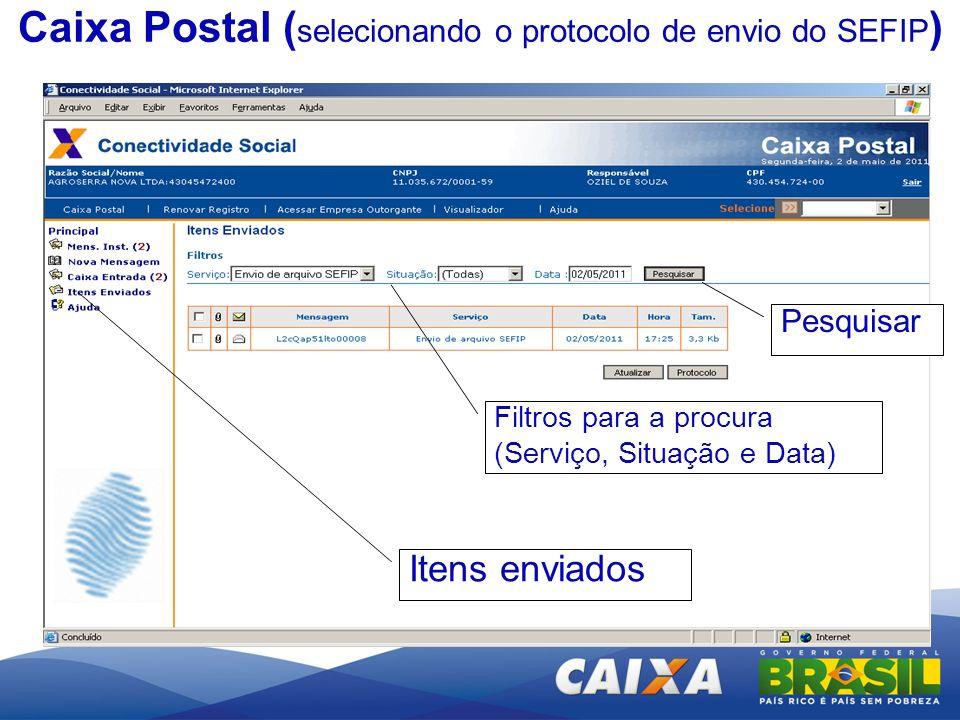 Caixa Postal (selecionando o protocolo de envio do SEFIP)