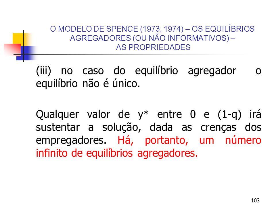 (iii) no caso do equilíbrio agregador o equilíbrio não é único.
