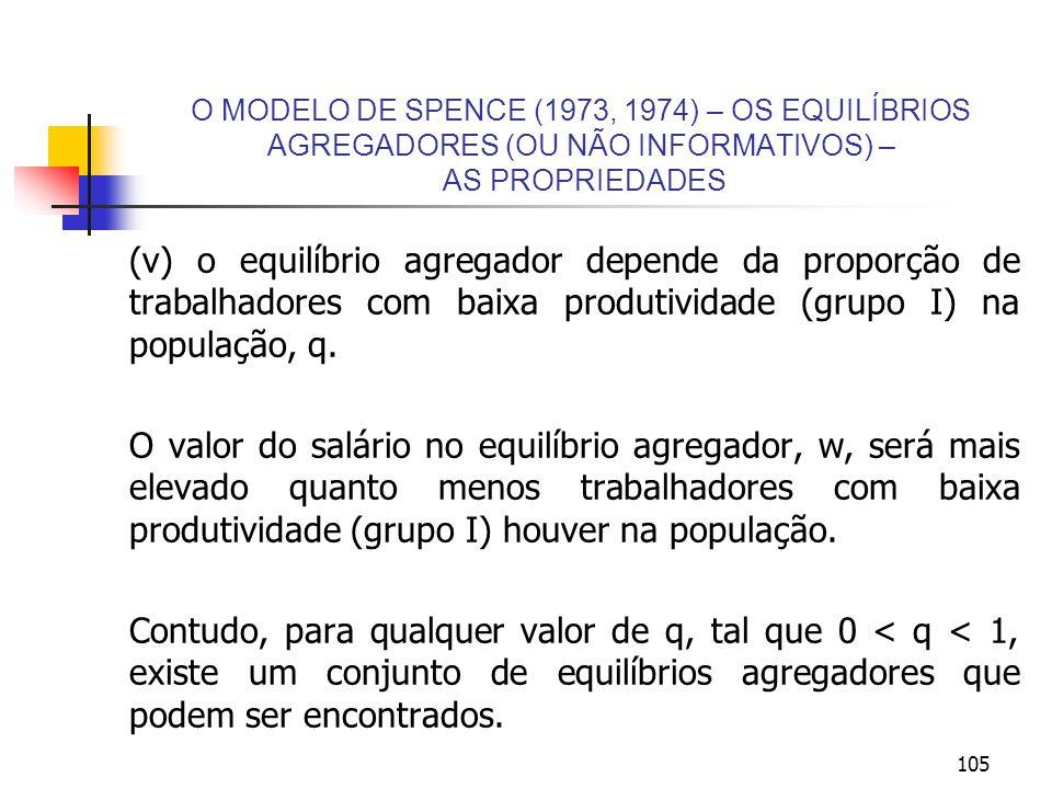 O MODELO DE SPENCE (1973, 1974) – OS EQUILÍBRIOS AGREGADORES (OU NÃO INFORMATIVOS) – AS PROPRIEDADES