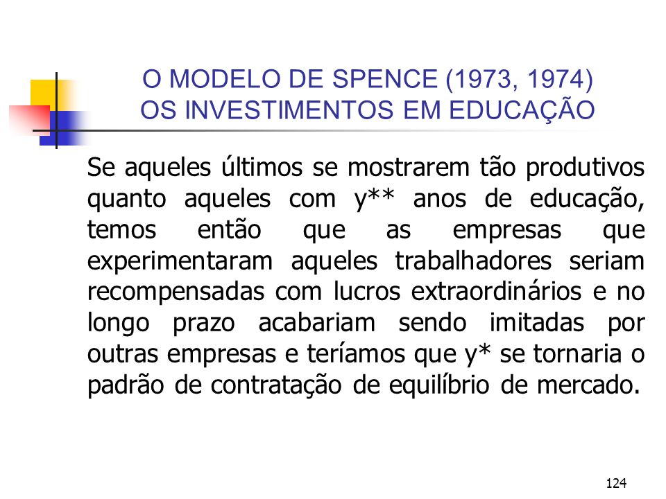 O MODELO DE SPENCE (1973, 1974) OS INVESTIMENTOS EM EDUCAÇÃO