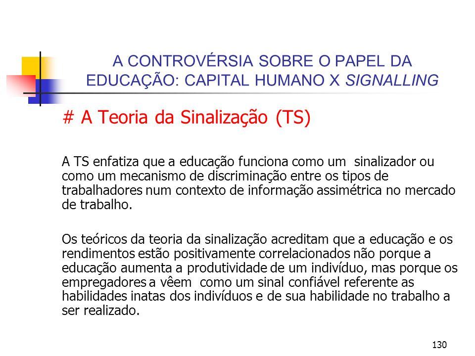 A CONTROVÉRSIA SOBRE O PAPEL DA EDUCAÇÃO: CAPITAL HUMANO X SIGNALLING