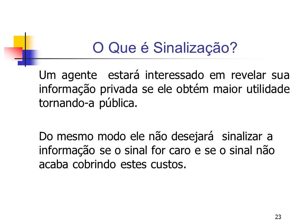 O Que é Sinalização Um agente estará interessado em revelar sua informação privada se ele obtém maior utilidade tornando-a pública.