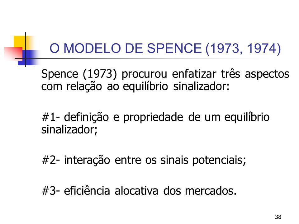 O MODELO DE SPENCE (1973, 1974) Spence (1973) procurou enfatizar três aspectos com relação ao equilíbrio sinalizador: