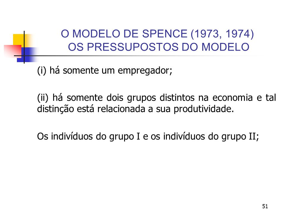 O MODELO DE SPENCE (1973, 1974) OS PRESSUPOSTOS DO MODELO