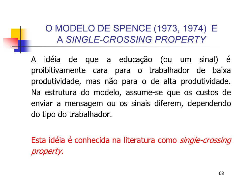 O MODELO DE SPENCE (1973, 1974) E A SINGLE-CROSSING PROPERTY