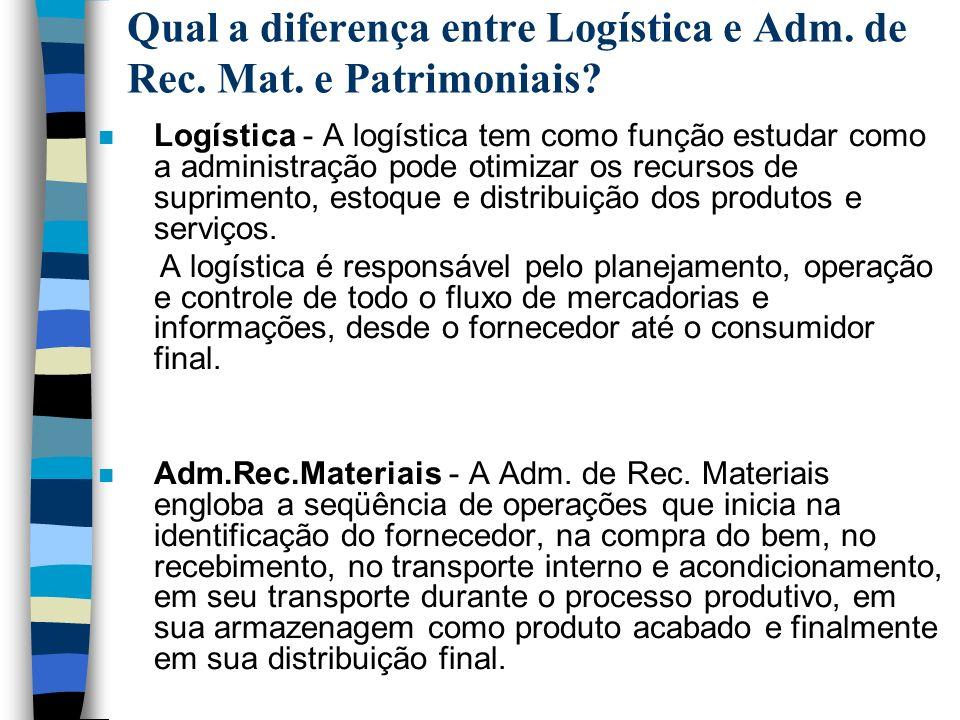 Qual a diferença entre Logística e Adm. de Rec. Mat. e Patrimoniais
