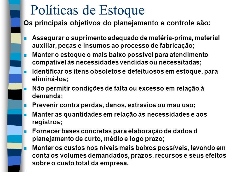 Políticas de Estoque Os principais objetivos do planejamento e controle são: