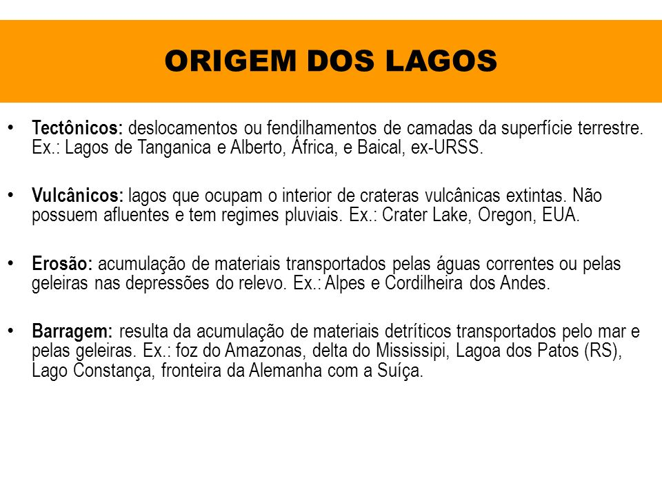 ORIGEM DOS LAGOS