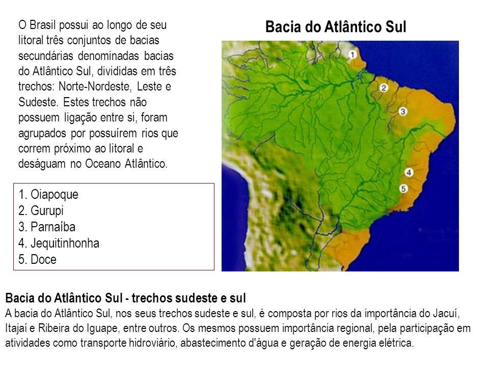 O Brasil possui ao longo de seu litoral três conjuntos de bacias secundárias denominadas bacias do Atlântico Sul, divididas em três trechos: Norte-Nordeste, Leste e Sudeste. Estes trechos não possuem ligação entre si, foram agrupados por possuírem rios que correm próximo ao litoral e deságuam no Oceano Atlântico.