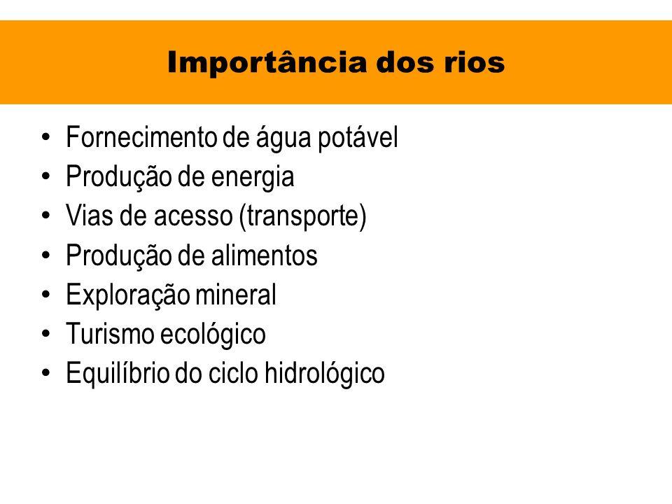 Importância dos rios Fornecimento de água potável. Produção de energia. Vias de acesso (transporte)