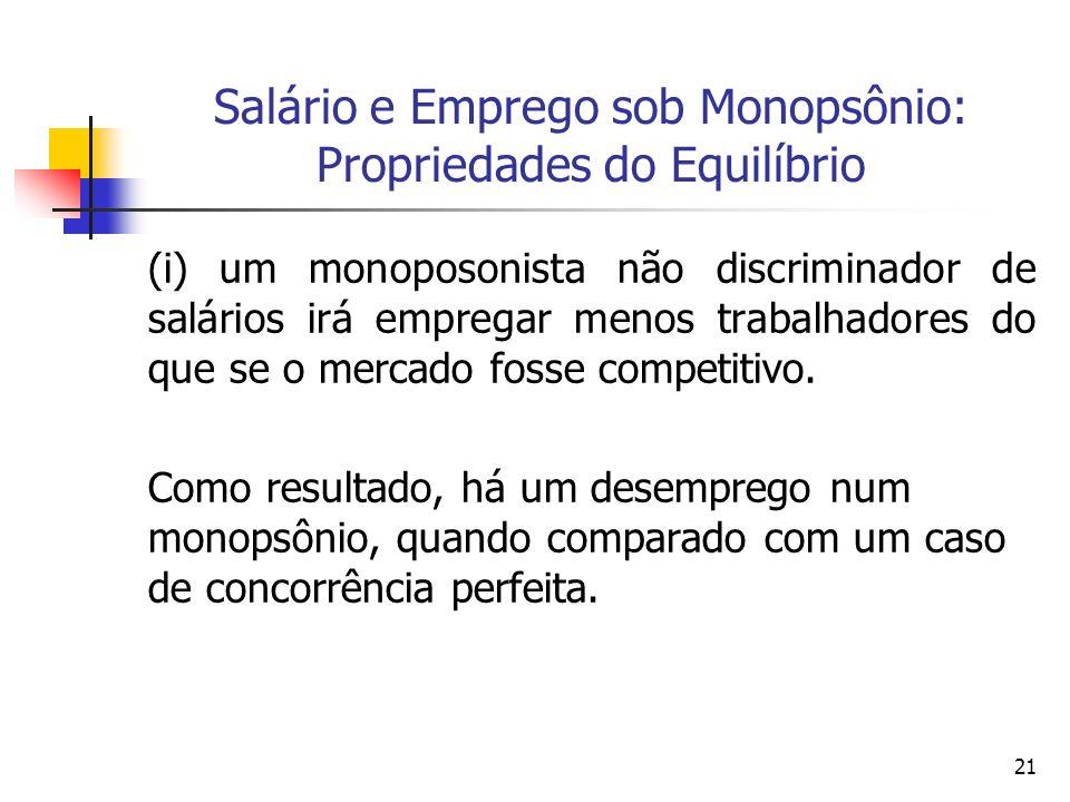 Salário e Emprego sob Monopsônio: Propriedades do Equilíbrio