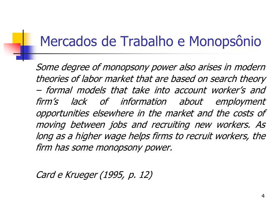 Mercados de Trabalho e Monopsônio