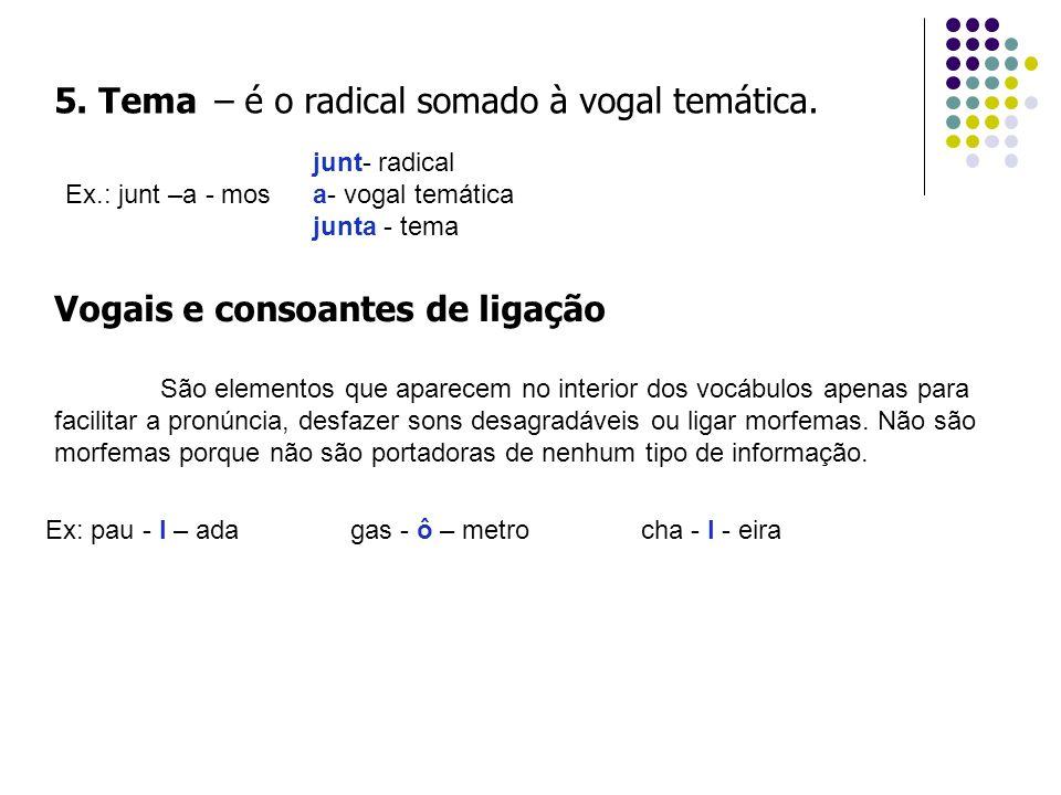 5. Tema – é o radical somado à vogal temática.