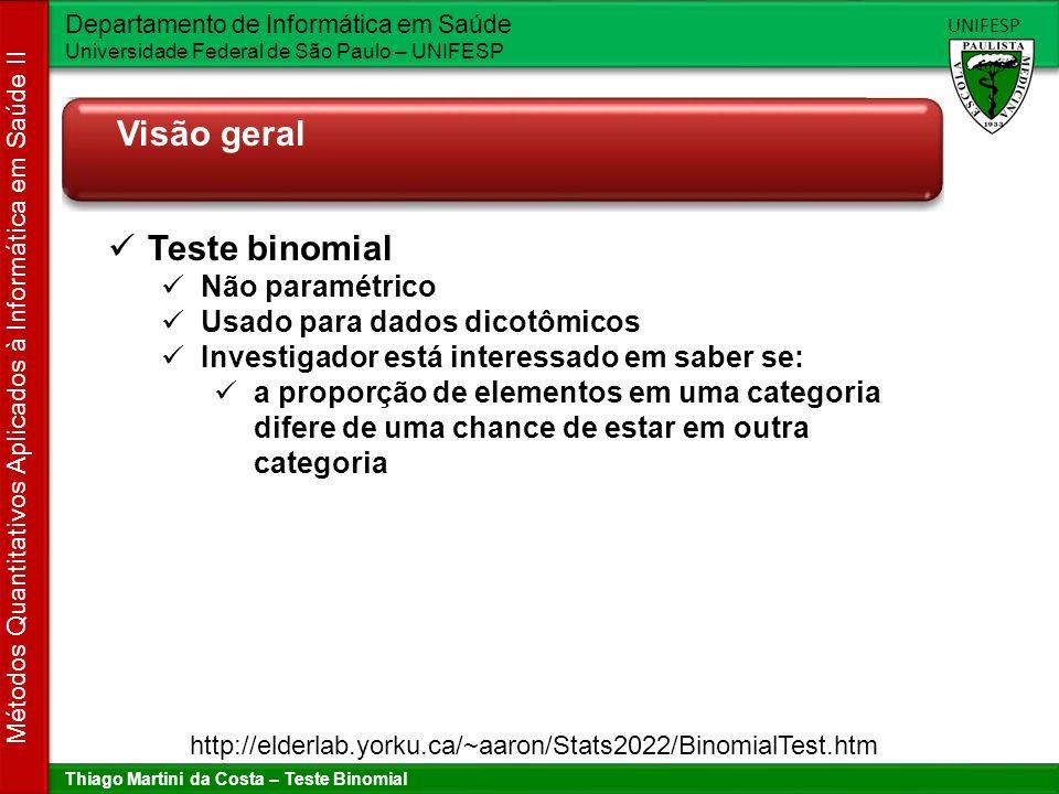 Visão geral Teste binomial Não paramétrico